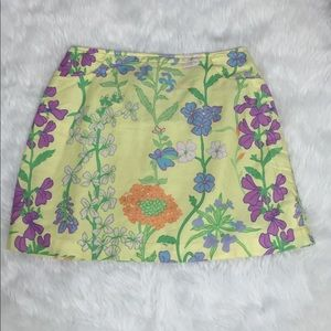 Lily Pulitzer Floral Yellow Skirt  Size Large